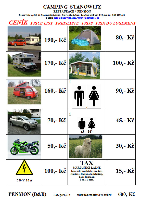 Price list - Stanowitz | Stanoviště - camping, pension